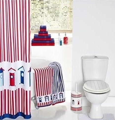 Cortina de ducha diseño de casetas de playa, diseño de rayas: Amazon.es: Hogar