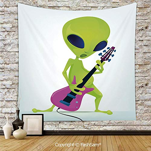 (FashSam Tapestry Wall Blanket Wall Decor Cartoon Alien Character Playing Electric Guitar Music Monster Decorative Home Decorations for Bedroom(W59xL90))