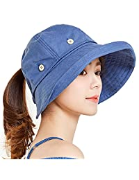 YEKEYI Sun Hats Outdoor UV Protection Wide Large Brim Beach Visor Empty Top
