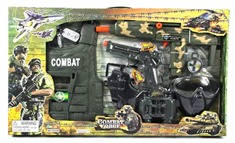Combat Force Army Friction Toy Gun Complete Combo Set w/ Army Vest, Mask, Dog Tags, Toy Pistol, Holster, Binoculars, Whistle, & Mock - Gun Sniper Set