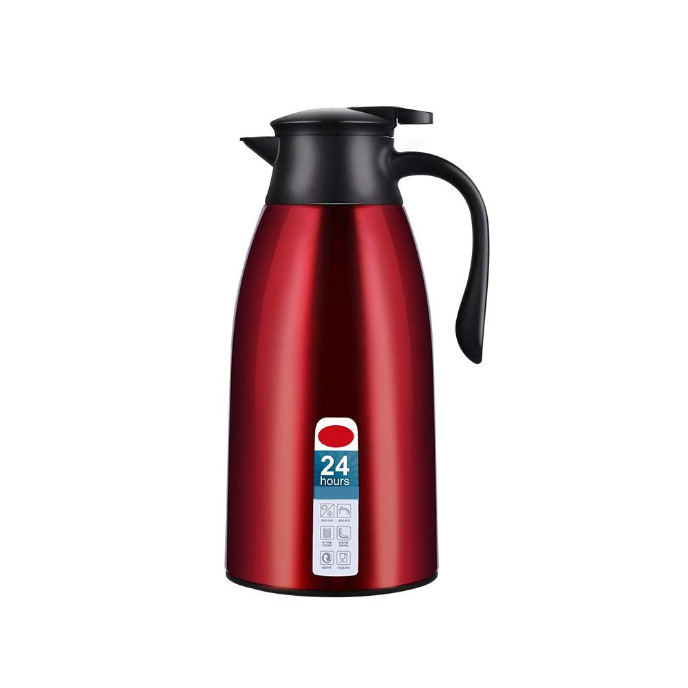 Jaxonn Home 1.9L Vacuum Insulated Jug Thermal Carafe Stainless Steel Double Wall Insulation Pot for Coffee Juice Milk Tea Beverages (Color : Red, Size : 1900ML) by Jaxonn Home