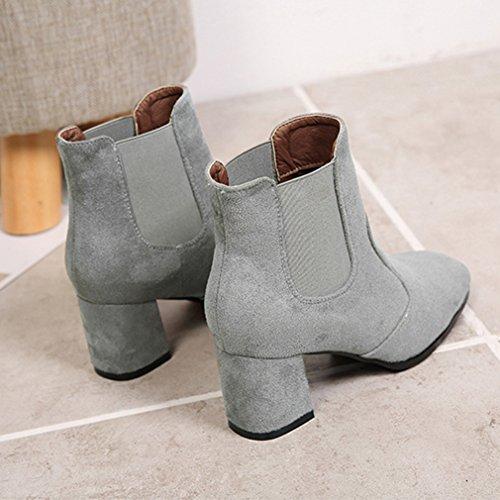 Bloc Chelsea Chaussures 35 Boots Gris Bout Neige Inconnu Bottes Carré Casual Haut Mode Simple Talon Suédé Femmes g0xWFnxB