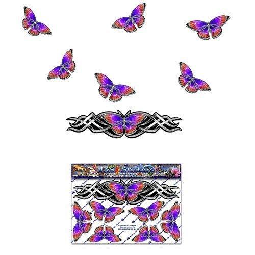 Pegatina animal mirada cromada de plata de la etiqueta de la pequeñ a mariposa de la mariposa para las caravanas del coche Camiones y barcos ST00021SL_SML - etiquetas engomadas de JAS