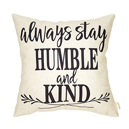 Fahrendom Rustic Always Stay Humble and Kind Farmhouse Style Inspirational Sign Motivational Quote Cotton Linen Home Decorative Throw Pillow Case Cushion Cover with Words for Sofa Couch 18 x 18 in