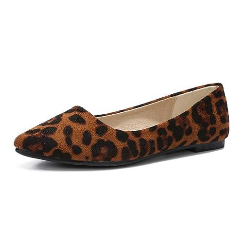 906fedfecb9e Women Slduv7 Women Leopard Print Flats Pointed Toe Cute Ballet Shoes