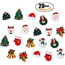 Netany 20-Pack Christmas Ornaments Refrigerator Magnets, Christmas Fridge Magnet Home Decoration with Santa Claus, Reindeer, Christmas Trees & Bells, Snowman, Mini Size About 1''