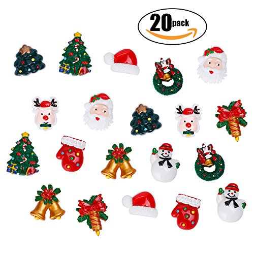 Snowman Refrigerator Magnet (Netany 20-Pack Christmas Ornaments Refrigerator Magnets, Christmas Fridge Magnet Home Decoration with Santa Claus, Reindeer, Christmas Trees & Bells, Snowman, Mini Size About 1'')