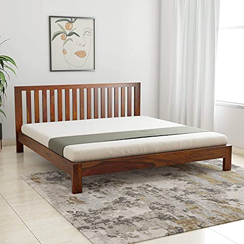 S D FURNITURE Solid Sheesham Wood King Bed  Teak Finish
