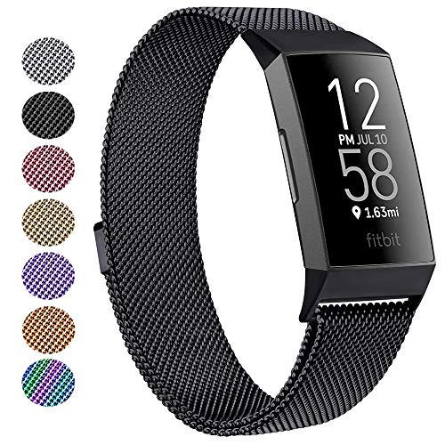 SINPY Watch Bands Compatible for Fitbit Charge 4/Fitbit Charge 3/Charge 3 SE Tracker,Metal Magnetic Clasp Loop Wrist Band for Men/Women (Large/Small)