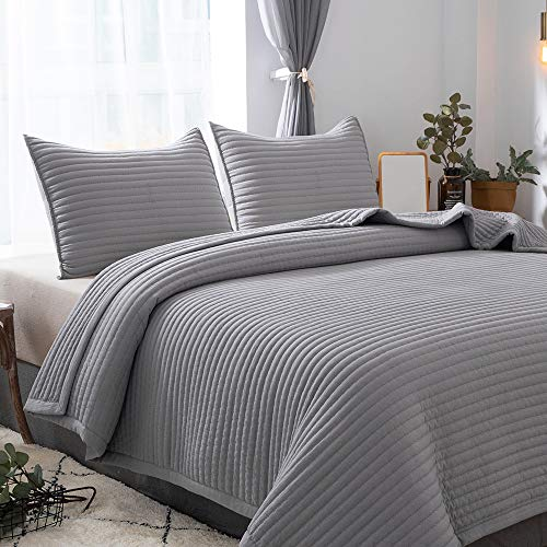 - DAWNDIOR Lightweight Thin Quilted Comforter,Multipurpose for Quilt Bedspread Blanket with Luxurious Down Alternative Filling,Super Soft Fabric and Neoclassical Solid Design with 2 Shams