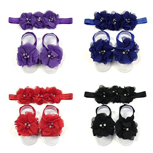 Price comparison product image ALLYDREW Baby Girl Barefoot Flower Sandals & Headbands Set Chiffon Flower Baby Sandals - Savvy (set of 4)