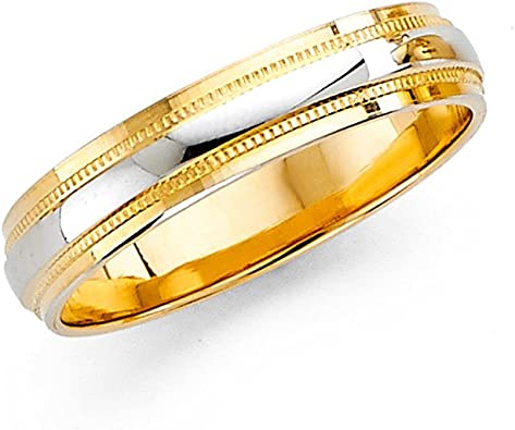 ZenJewels Wedding Band Solid 14k Yellow Gold Diamond Cut Ring Diamond Cut Satin /& Polished Style 6 mm