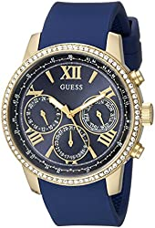 GUESS Women's U0616L2  Iconic Indigo Blue & Gold-Tone Multi-Function Watch with Comfortable Silicone Strap