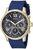 GUESS Women's U0616L2 Sporty Gold-Tone Stainless Steel Watch with Multi-function Dial and Blue Strap Buckle