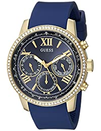 GUESS Womens U0616L2 Iconic Indigo Blue & Gold-Tone Multi-Function Watch with Comfortable Silicone Strap