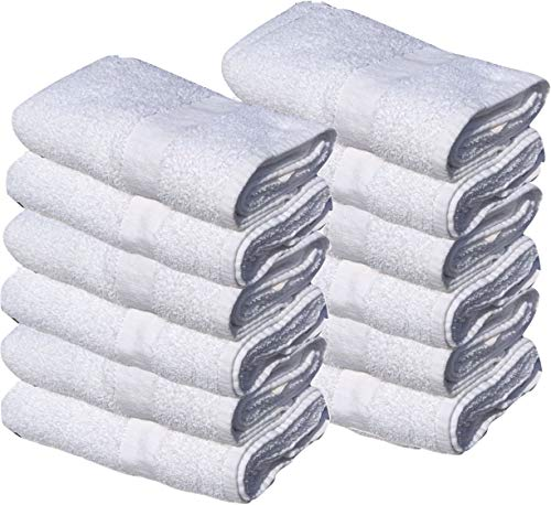 GOLD TEXTILES 12 New White 22X44 100% Cotton Economy Bath Towels