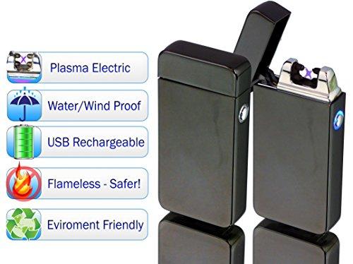 (Tac Plasma Lighter Dual Arc Tactical Beam - USB Rechargable, Electric Windproof Splashproof Flameless Lighter, Butane Free Tactical Dual Arch - New Technology - Seen on TV (1pc, Black) )