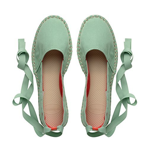 Ribbon Espadrille Sandals (Havaianas Women's Origine Slim Espadrille,Green Bamboo 38 BR (8 M US))