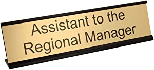 "Assistant to The Regional Manager Desk Plate – 2"" x 8"" Novelty Name Plate – Gold Name Plate with Black Desk Holder"