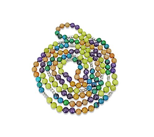 MGR 60 Inch 8MM Semi-precious Genuine Stone Long Endless Infinity Multi-color Beaded Strand Necklace. ()