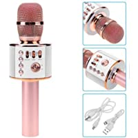 REVOQUE Wireless Bluetooth Karaoke Microphone - Built-in Speaker Works with Apple iPhone Android iPad LG Samsung Smartphone PC - Rose Gold