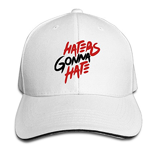 Haters Gonna Hate Sandwich Adjustable Peaked Bill Hat One Size White