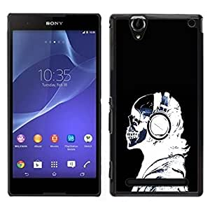 // PHONE CASE GIFT // Duro Estuche protector PC Cáscara Plástico Carcasa Funda Hard Protective Case for Sony Xperia T2 Ultra / Headphones Skeleton Art Bones Profile Portrait /