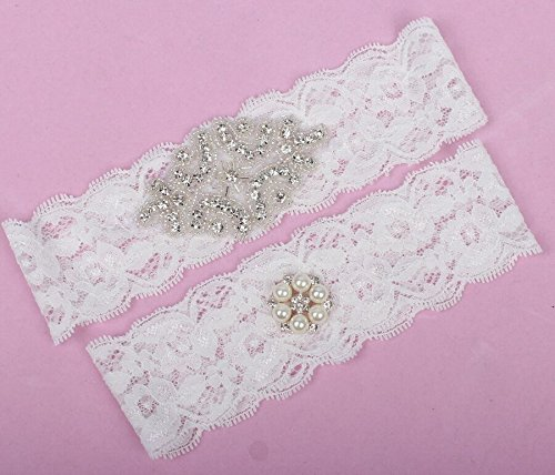 Sunshinesmile White Pearl Rhinestone Lace Trim / Bridal Garter Set 17-21inch