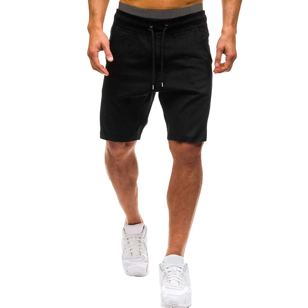 Shorts for Men, F_Gotal Men's Casual Plain Drawstring Elastic Waist Sports Pants Training Jogger Shorts Sweatpants Black