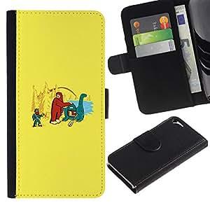 NEECELL GIFT forCITY // Billetera de cuero Caso Cubierta de protección Carcasa / Leather Wallet Case for Apple Iphone 5 / 5S // Bigfoot y Loch Ness divertido