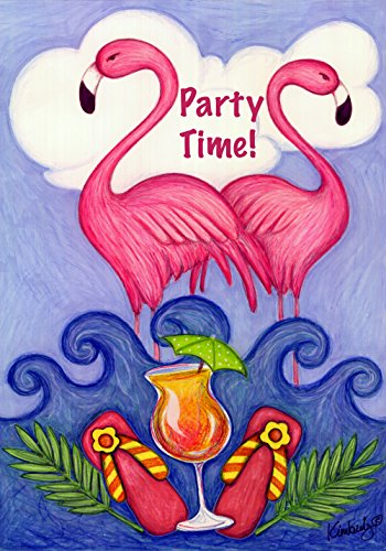(Toland Home Garden Get Your Pink On 12.5 x 18 Inch Decorative Tropical Summer Party Time Flamingo Cocktail Garden)