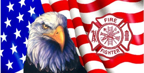 Airbrushed License Plate - American Flag - Eagle & Fire Dept. Symbol License (China Flag License Plate)