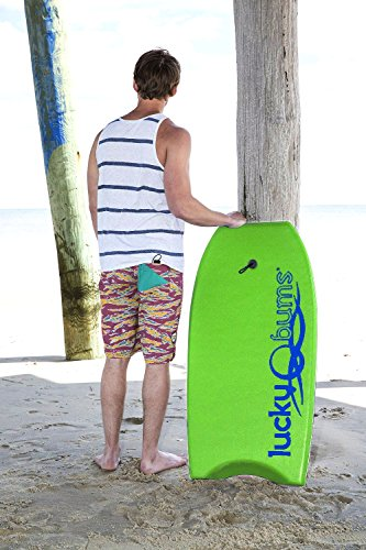 Lucky Bums Body Board with EPS Core, Slick Bottom, and Leash, Green - 41 Inches