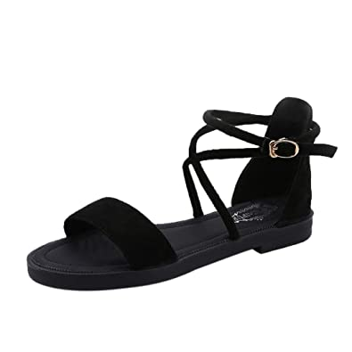Women Flat Sandals Cross Straps Leather Open Toe Buckle Low Heel Sandals