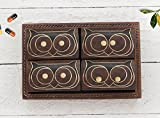 wooden appliance holder - Store Indya Gifts Set of 6 Wooden Pill Boxes Dispensers with a Tray and Brass Inlay (4 Owls in One Collection)