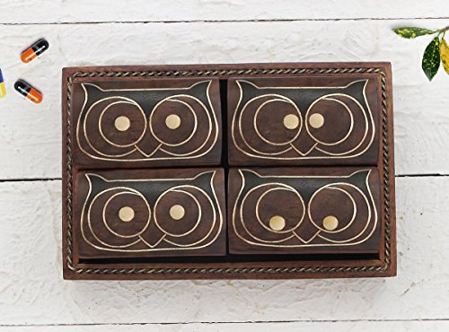storeindya Set of 6 Wooden Pill Boxes Dispensers with a Tray and Brass Inlay (Design 2)
