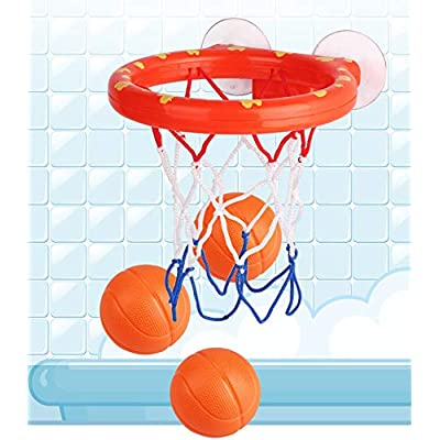 Deerbb Baby Bath Toys Basketball Hoop & Mini Balls Set for Toddlers Boys Girls, Bathtub Playsets for Kids 1 Years Old+: Toys & Games