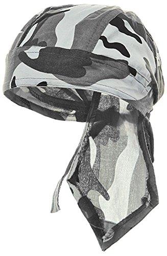 Camouflage Doo Rag Skull Cap Camo Bandana Hunting Hunters Head Wrap (Gray Urban Camouflage)