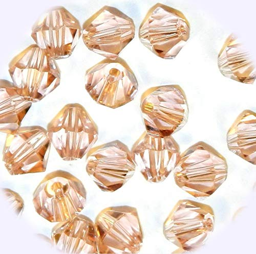 (New Light Peach 6mm Faceted Cut Crystal Glass Jewelry-Making Beads 25pc DIY Craft Supplies for Handmade Bracelet Necklace)