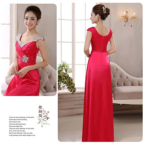 Bridal Evening Party Maxi Dress Red Satin Sequins Prom Drasawee Women's Gowns Rosy qwfI8AA