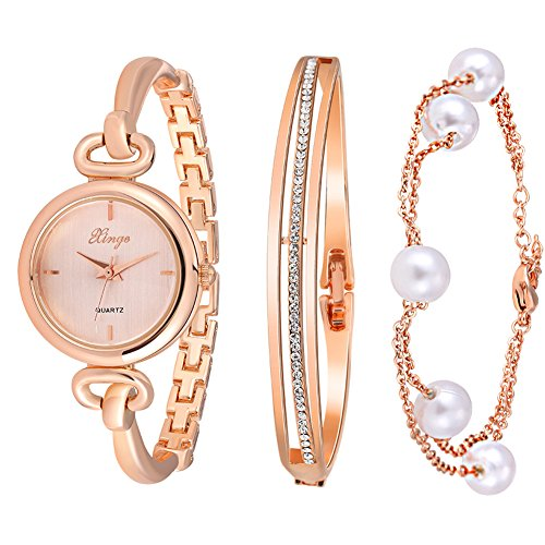Diamond Set Wrist Watch (Xinge 590 Women's Round Case Rose Gold Bangle Wrist Watch and Bracelet)