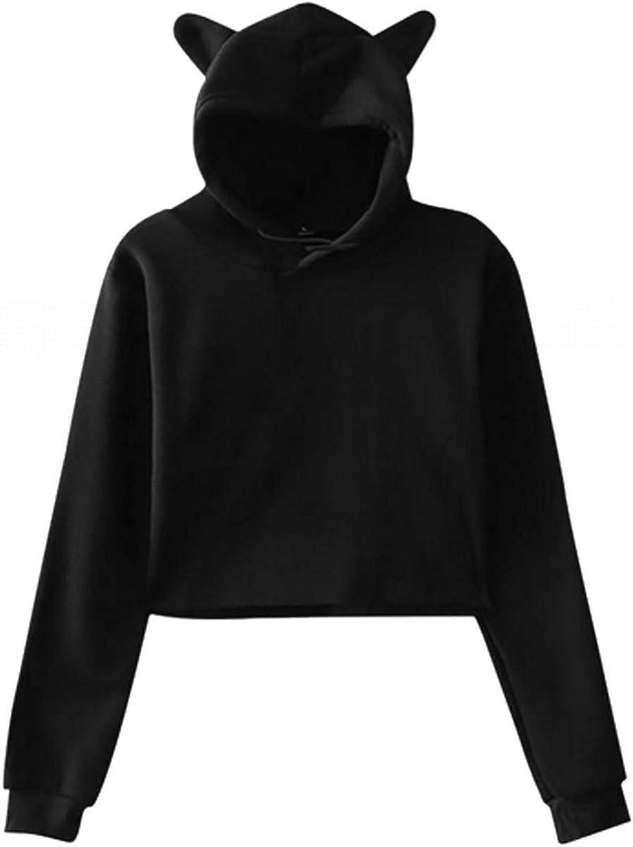 LSHTZ Ladies Cat Ear Sweater Hoodies Smile Women Long Sleeve Sweatshirts Thin Tops Blouse for Lady Black