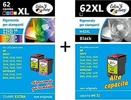 Cartuchos de tinta rellenados para HP 62XL, negro 2 piezas + ...