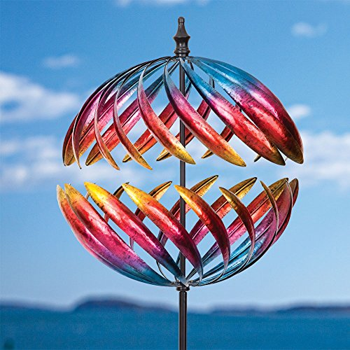 Kinetic Wind Sculpture - Bits and Pieces - Magnificent Jupiter Two-Way Giant 22 Inch Diameter Wind Spinner - Multicolor Kinetic Garden Windspinner - Decorative Lawn Ornament Wind Mill - Unique Outdoor Lawn and Garden Décor