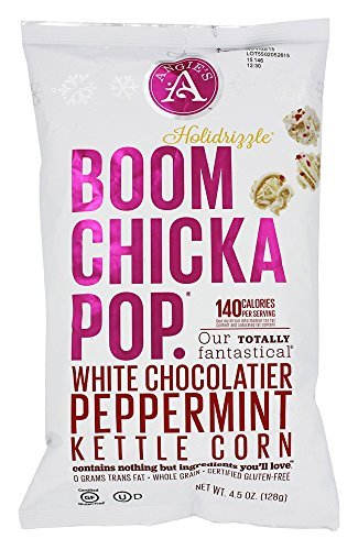 Angies Boom Chicka Pop Holidrizzle Kettle Corn Holiday White Chocolate Peppermint One 4 5 Oz Bag