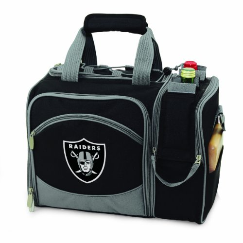 - PICNIC TIME NFL Oakland Raiders Malibu Insulated Shoulder Pack with Deluxe Picnic Service for Two