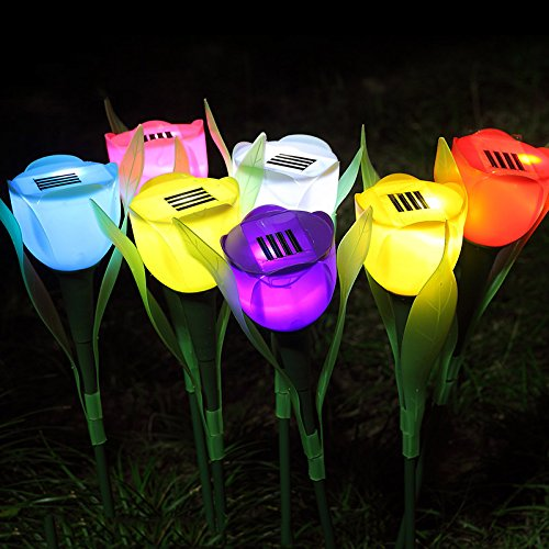 owered Stake Lights Garden Tulip Shape Stake Decorative Landscape Holiday Colorful Lawn Path Lamp White ()