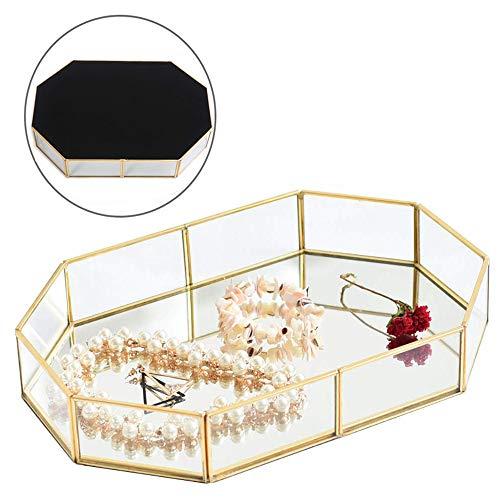 Pahdecor Vintage Makeup Jewelry Organizer Mirrored Glass Tray Handmade Home Decorative Metal Vanity Tray,Gold Leaf Finish(Large) (Vintage Dresser Mirrored)