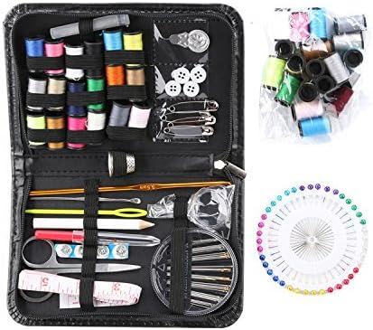 Más de 110 suministros de costura premium, 38 bobinas de hilo, 20 colores más útiles y 18 colores multi colores, 40 alfileres de costura, mini kit de costura compacto para principiantes, viajeros,