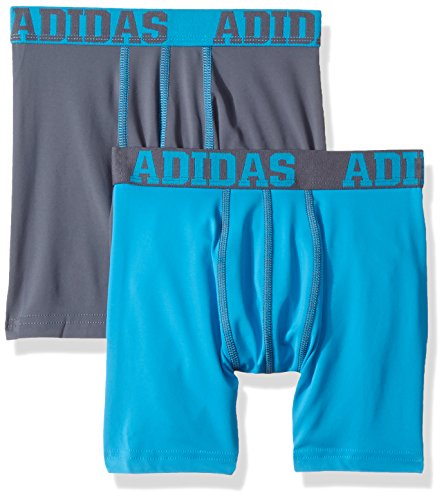 Boys 2 Pack Boxer Brief (adidas Boy's Youth Sport Performance Climalite 2 Pack Boxer Brief Underwear, Onix/Solar Blue, Small)
